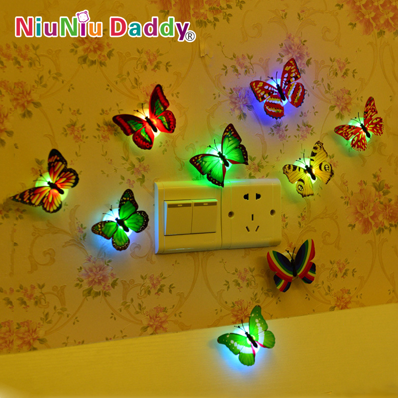5 pcs Colorful Butterfly night light baby bedside lamp wall lights Indoor lighting decorations Party Decor Christmas Nightlights(China (Mainland))