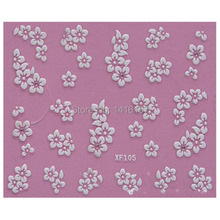 3D Nail Art Stickers Decal Beauty Cute White Flowers Rhinestones Design Decorative French Manicure Tools