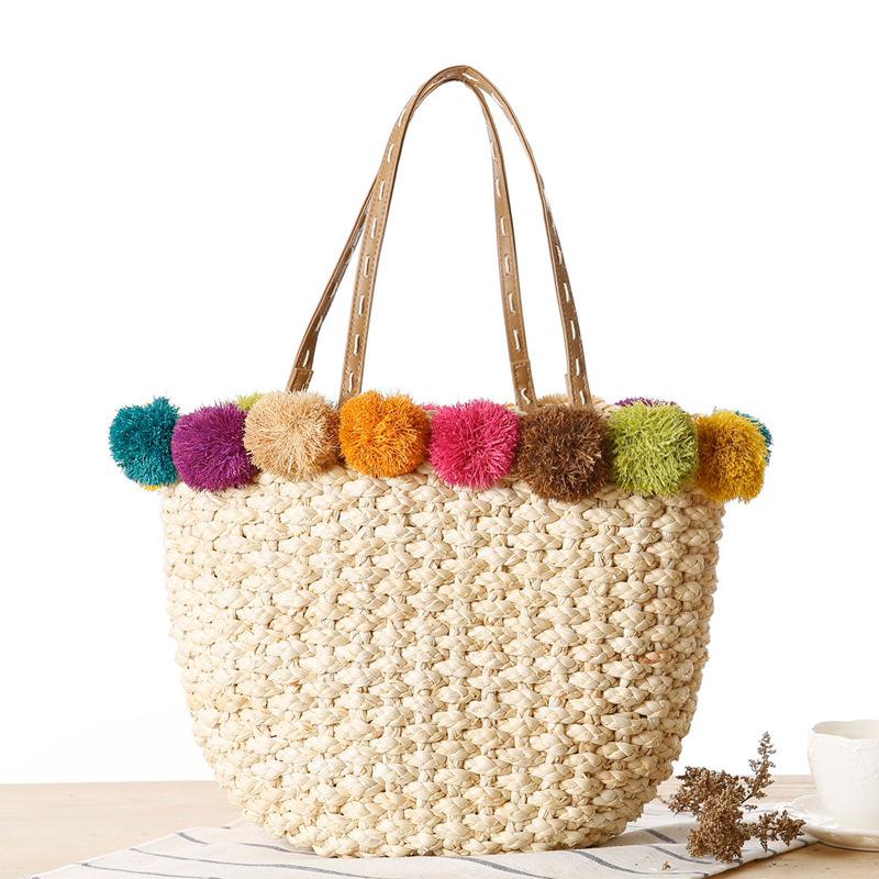 women summer handbags straw bag rainbow ball ladies beach bag string lady hand bag vintage shopper bag sac a main(China (Mainland))