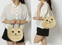 Free shipping b rand new Fashion Women Summer Round Cute Cat Straw Bags Beach Tote Shoulder Bag Handbag