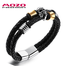 Buy MOZO FASHION Men Bracelet Braided Leather Rope Chain Stainless Steel Skull Bracelet Male Punk Bangle Skeleton Jewelry MPH1105 for $6.20 in AliExpress store