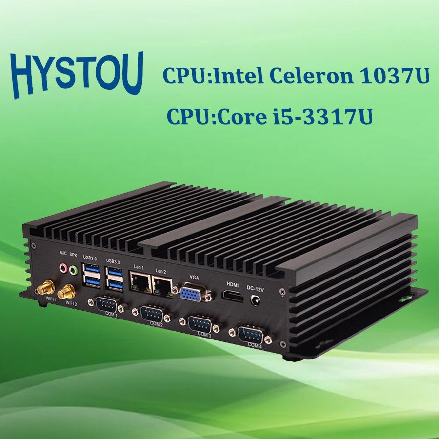 Hystou Embedded Fanless PC with Rack Mount Computer Case Ivy Bridge Intel Core i5 CPU with 4G RAM 128G SSD(China (Mainland))