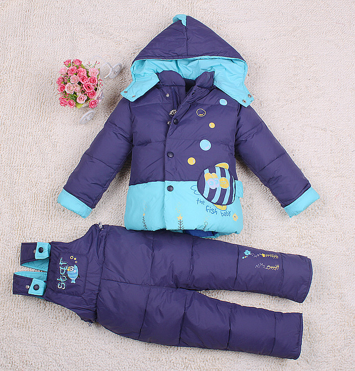 Baby Kids Clothing Children Down Coat Set Fashion Outdoor Jacket Suspender Trousers Twinset Suit Girls Boy Child Winter Outwear(China (Mainland))