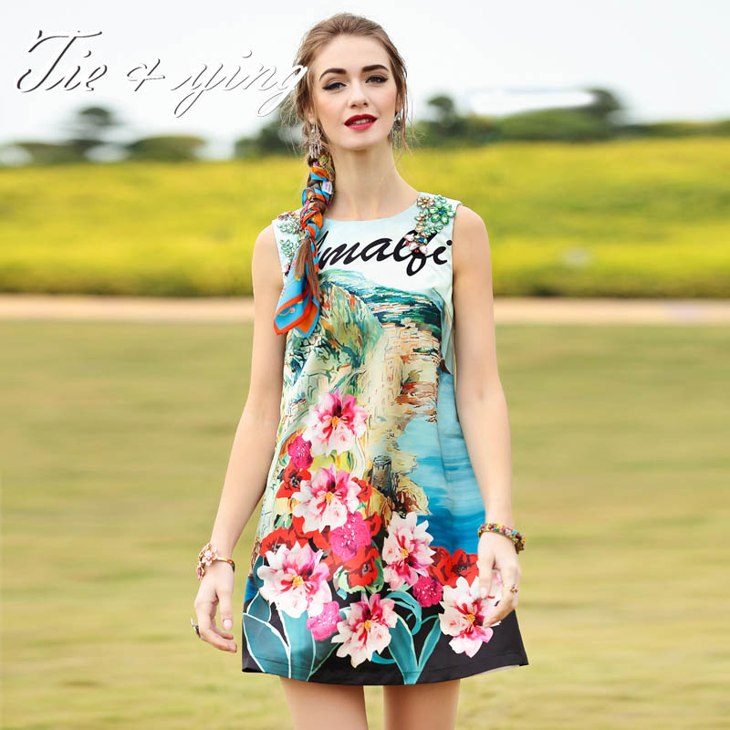 High-end women short diamonds dresses 2016 summer new American and European fashion runway print floral slim sleeveless dress Одежда и ак�е��уары<br><br><br>Aliexpress