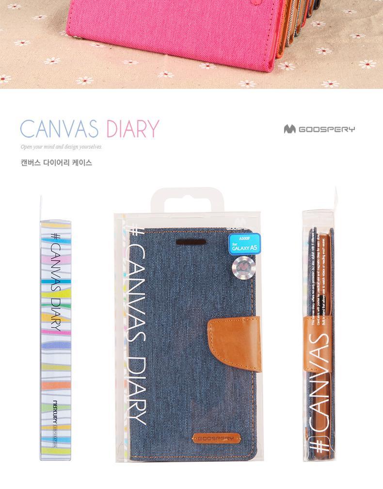 Mercury Goospery Galaxy Note 3 4 5 S6 S7 Edge Canvas Wallet Case Samsung Diary Black 16