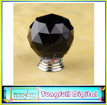 2013 new10Pcs Design Fashion K9 Black Crystal Glass Chrome Cabinet Knobs Door Drawer Handle New (Diameter: 30MM Color:Black)