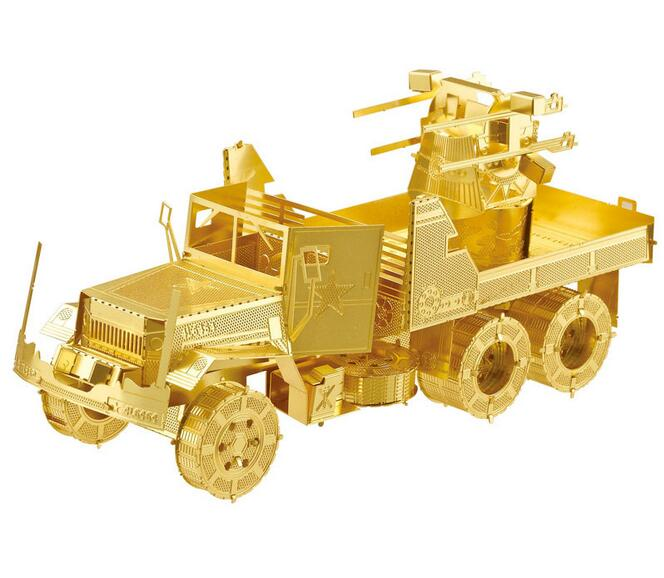 3D puzzle DIY build metal kids toys 3D models puzzle Building mode USA M35 air defense truck toys for childern free shipping(China (Mainland))
