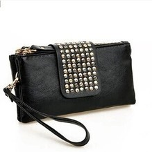Simple Fashion PU Leather Handbag Rivet Lady Clutch Purse Women Wallet Evening Bag Model No. M002(China (Mainland))