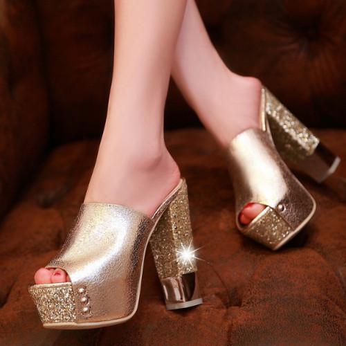 2015 New Hot Women Sandal High Heels Flip Flops Summer Party Sweet Glitter Shoes Round toe Platform Sandals Big size 32-43