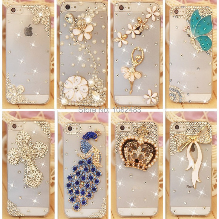 Rhinestonel Case Cover For Apple Iphone 5 5s Iphone 4 4s Cover ,Luxury Diamond Hard Back Skin Cover Mobile phone Protective Case(China (Mainland))