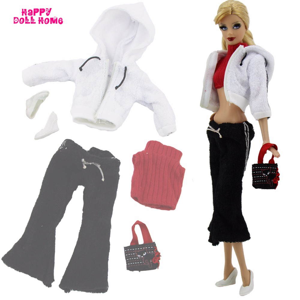 5in1 Trend Sport Outfit White Coat Jacket Black Pants Costume Purse Footwear Garments For Barbie Doll Equipment Child Toys Reward