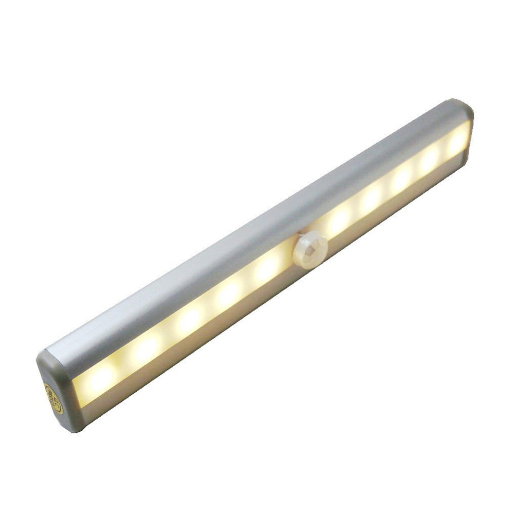 10-LED Wireless Motion Sensing Closet Cabinet LED Night Light Stairs Light Step Light Bar with Magnetic Strip (Battery Operated)(China (Mainland))