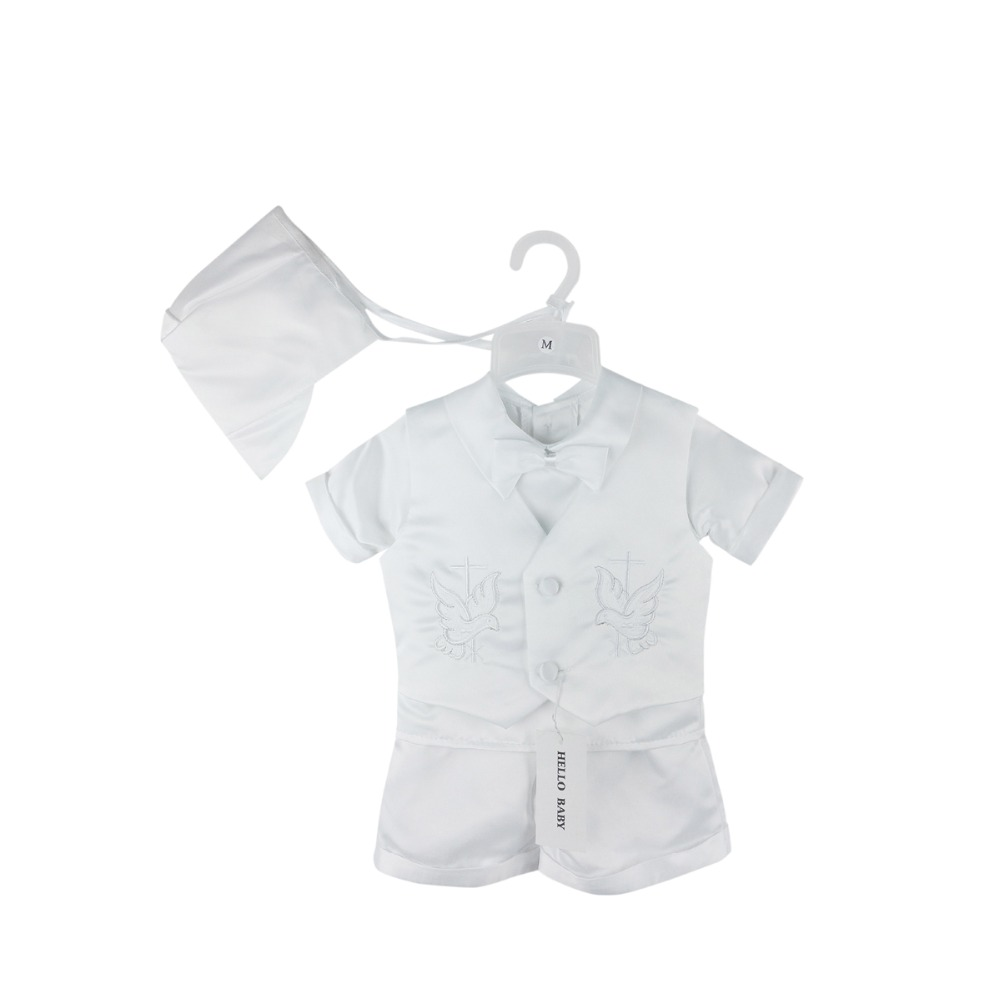 HELLO BABY Baby boy white baptism clothing sets,newborn formal wear,wedding suits,christening layette clothes 0684(China (Mainland))