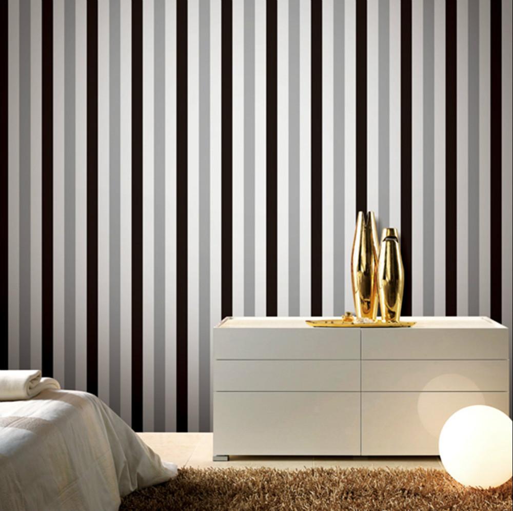 Schwarz Wei? Gestreifte Tapete : Metallic Silver and White Striped Wall