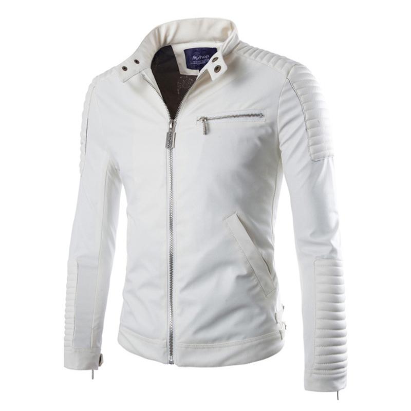 2015 New Mens Slim Coat Leather Motorcycle Jacket Men White Jackets Veste Homme 13M0171