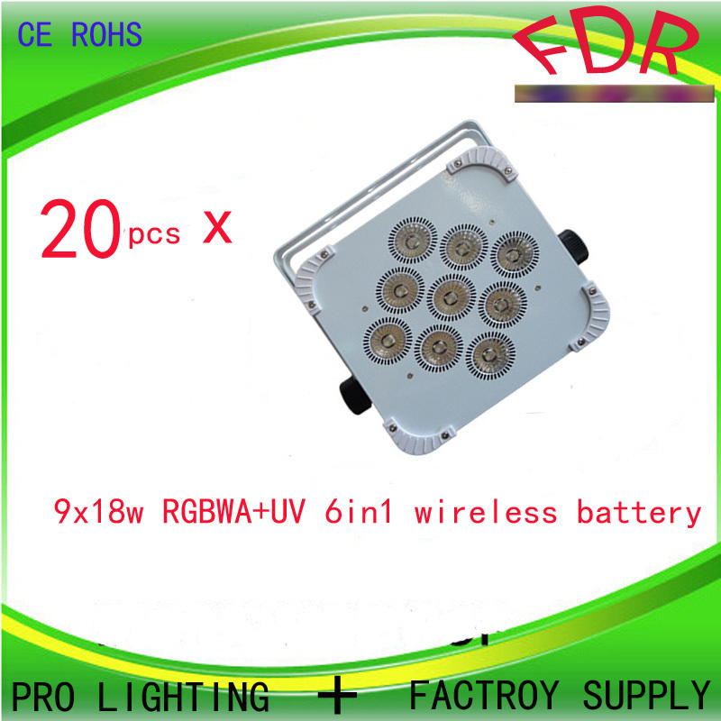 20pcs DJ Freedom Par 9x18w RGBWA+UV Wash Light Uplight With Rechargeable Battery and DMX Wireless(China (Mainland))