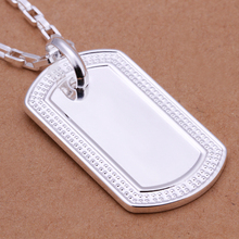 925 sterling silver jewelry 2015 fashion jewelry silver rectangle medal plate tag pendant link chain necklace popular necklace(China (Mainland))