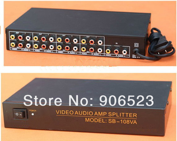 1 IN 8 OUT 108VA 8 Port RCA Audio Video Distribution Amplifier Splitter for TV DVD LCD(China (Mainland))