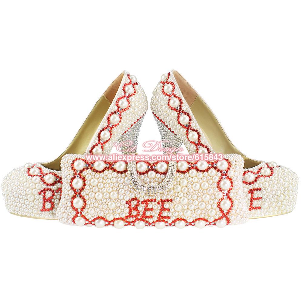 Celebridade moda mulher nome personalizado marfim pérolas e strass casamento sapatos italianos e sacos para jogo Plus Size(China (Mainland))