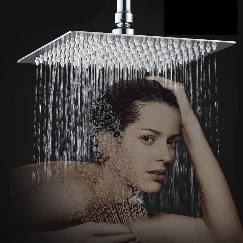 Фотография GOOG Quality Large Stainless Steel Rain Shower Head & Square Ceiling Dropper Arm Chrome Set Shower Set  Faucets