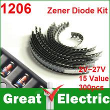 300 Teil/los 1206 SMD Zener Diode Kit LL34 0,5 Watt 1/2 Watt 2 V-27 V 15 Modelle Jeder der 20 stücke CGKCH125(China (Mainland))