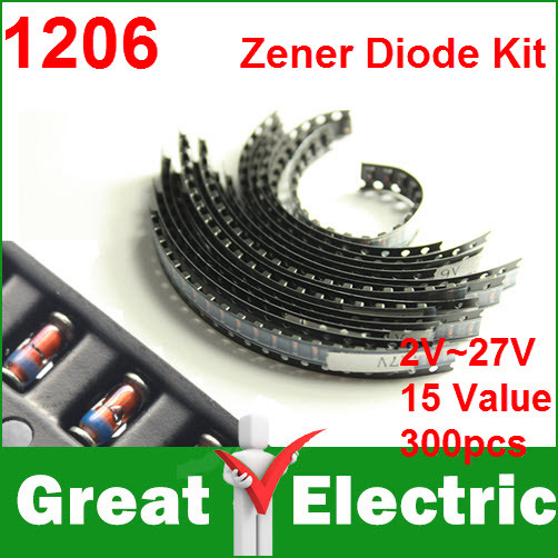 300PC/Lot 1206 SMD Zener Diode Kit LL34 0.5W 1/2W 2V-27V 15 Models Each of the 20pcs CGKCH125(China (Mainland))