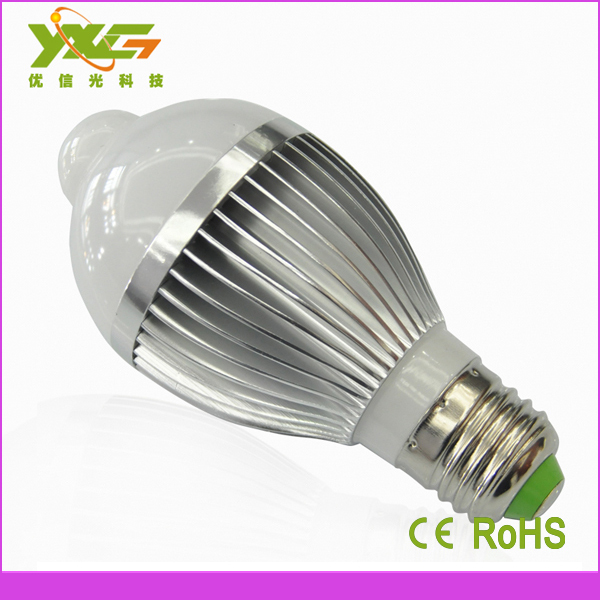 hi tech ac 110v 220v e27 high power 7w motion sensor led bulb light. Black Bedroom Furniture Sets. Home Design Ideas