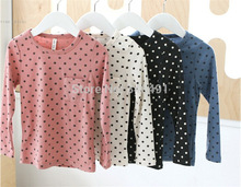 Korean Baby Kids Girl Dots Long Sleeve T-shirt Tops Blouse Tee Shirt 2-7Year(China (Mainland))