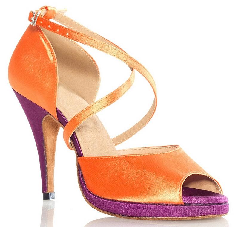New Women Orange Satin Platform Salsa Ballroom Tango Dance Shoes Latin Dance Dancing Shoes ALL Size<br><br>Aliexpress