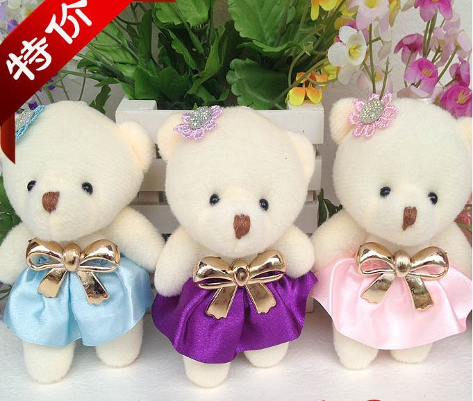 Free Shipping plush toy bear 12pcs/lot diamond joint bear Stuffed Toys soft toy for bouquets S440808(China (Mainland))