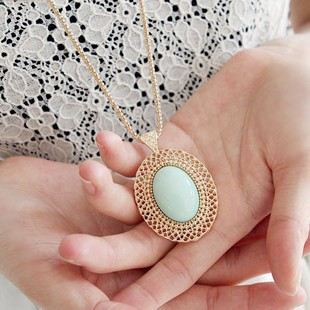Ocean jewelry fashion oval gem necklaces pendants(China (Mainland))