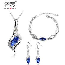 Австрийский хрусталь Стерлингового Серебра Натуральный красный синий браслет свадебные украшения устанавливает ожерелье серьги из трех частей Бесплатная Доставка Продажа-(China (Mainland))