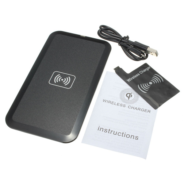 Black Universal Qi Wireless Charger Charging Pad Mat + Receiver Kit For Samsung Galaxy S3 i9300 + Micro USB Cable(China (Mainland))