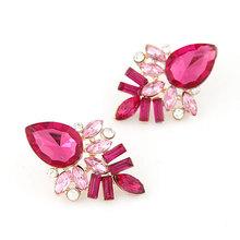 New Fashion Bright Pendientes Gold Plated Big Droplet Imitation Gem Rhinestone Stud Earrings for Women Brincos Grandes de festa(China (Mainland))