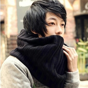 New 2014 Fashion Winter Knitted Scarves All-match Men Ring Scarf Circle Cable Knit Cowl Neck Wrap(China (Mainland))