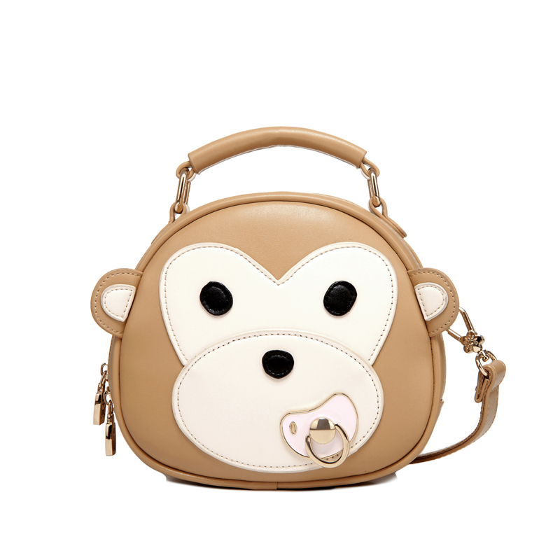 Women Small Circular Leather Handbag Ladies Cartoon Monkey Nipple Shoulder Bag Satchel Casual Cool Personality Messenger Bag(China (Mainland))