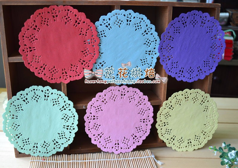 5.5'' Colored Flower Lace Round Paper Doilies Placemat Craft Doyleys Wedding Birthday Tableware Decoration 100pcs(China (Mainland))