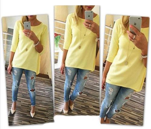 Горячая мода свободной женщины с длинным рукавом футболка осень хлопок футболка женщины