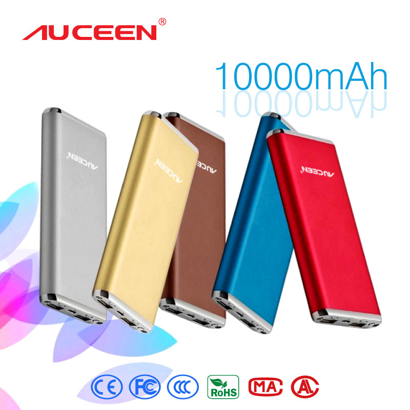 Auceen 10000mah ultra-thin Slim Dual USB High Capacity Portable Rechargeable Power Bank External Battery Charger Mobile phones(China (Mainland))