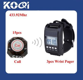 433.92mhz Wireless service call system , 15pcs transmitters and 3pcs  wrist waiter pager receivers  ; Freeshipping by DHL/EMS