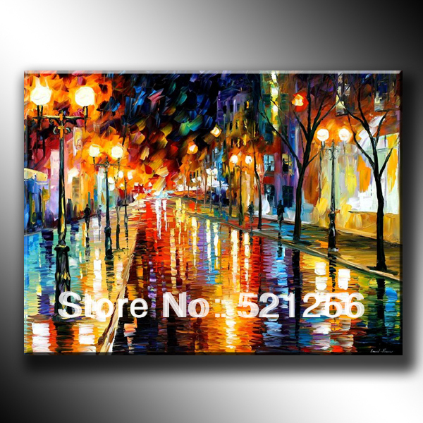 Free Shipping Colorful Oil Painting on Canvas Street after the Rain BLA24(China (Mainland))