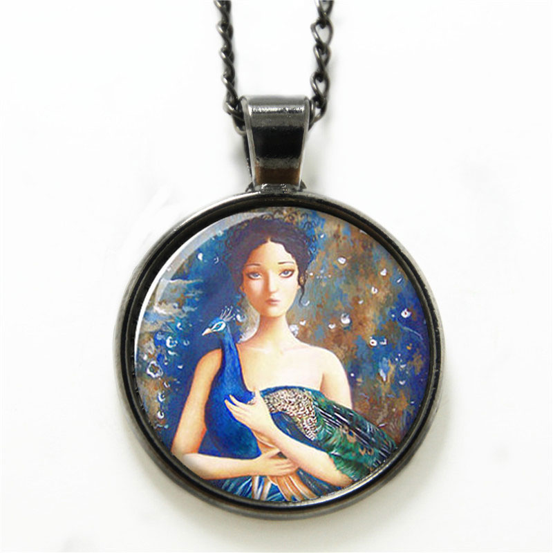 10pcs/lot Peacock necklace a fair girl with peacock spreading its tail necklace glass Photo Peacock Jewelry necklace(China (Mainland))