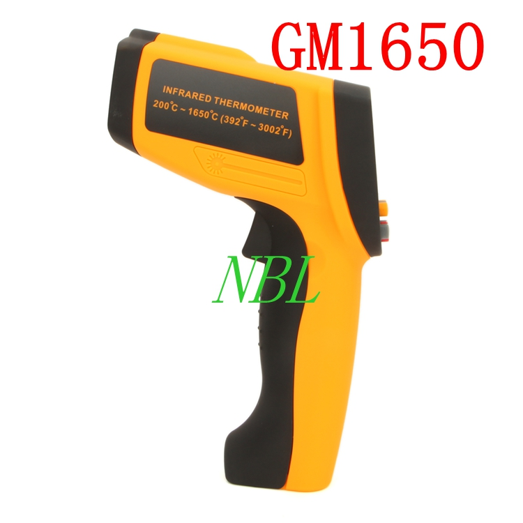 GM1650 Non-Contact 50:1 LCD Display Temperature Meter Gun IR Infrared Digital Thermometer 200~1650C (392~3002F) 0.1~1.00(China (Mainland))