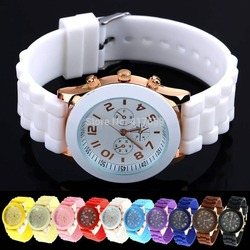 2014 New Style Unisex Geneva Silicone Crystal Lady Jelly Gel Quartz Analog Sports Wrist Watch