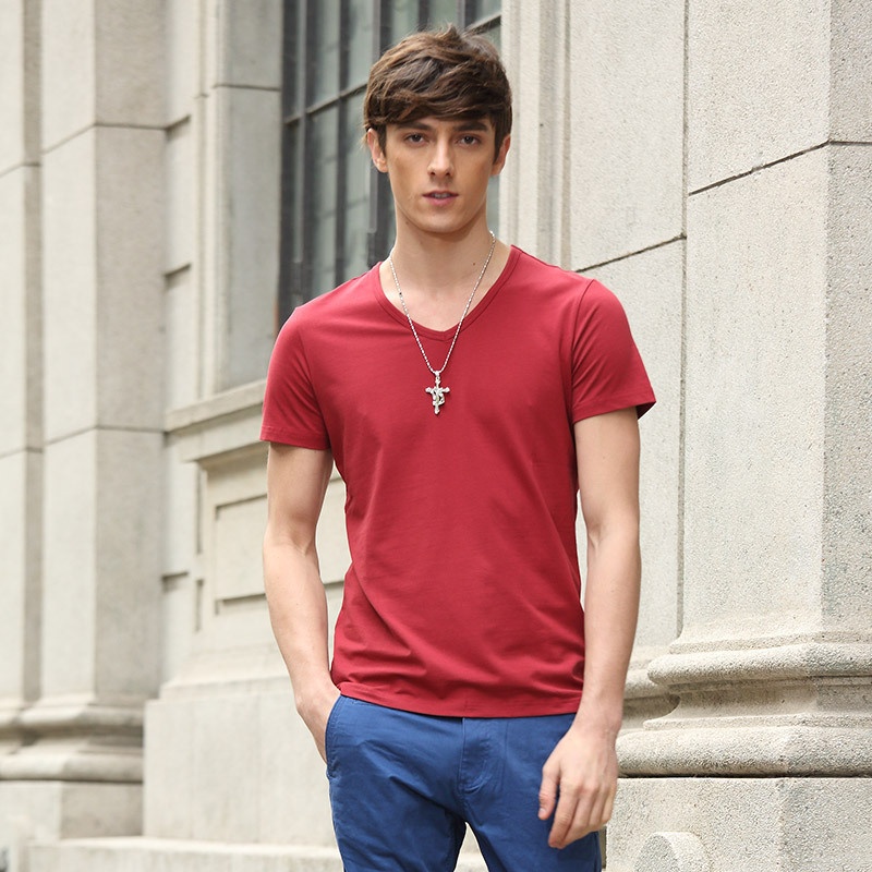 New brand men summer style t shirt casual v neck cotton t for Branded v neck t shirts