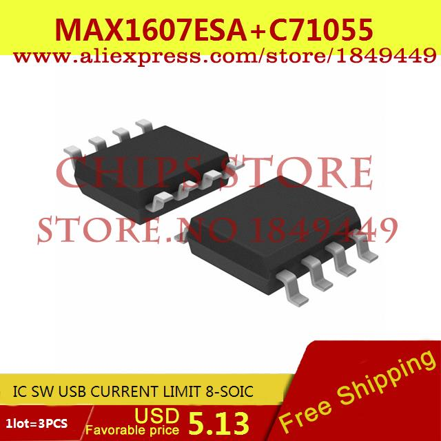 Free Shipping IC Integrated Circuit MAX1607ESA IC SW USB CURRENT LIMIT 8-SOIC 1607 MAX1607 1607E 3pcs(China (Mainland))