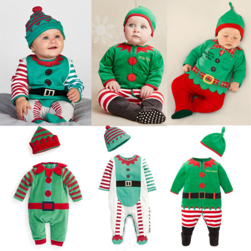 Winter Christmas Costumes Baby rompers 2015 One-piece Santa Claus Costumes Newborn long sleeves baby wear clothing set + hat(China (Mainland))