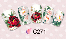 1 sheet Bright Coloured Peony Water Transfer Nail Art Stickers Decals Full Nail Foils Wraps Manicure