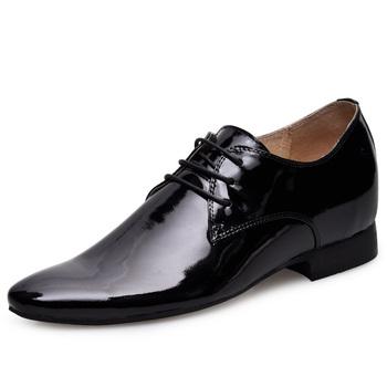 6251_1-Black Europe elevator Shoes with Hidden Heels make Men grow taller 6CM