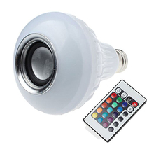 Wireless Bluetooth speaker E27  LED Stage Disco Novelty Lamp 6W  white  3W RGB   Built  Music play with  24 remote controller